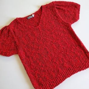 Vintage yarn works red sweater size large